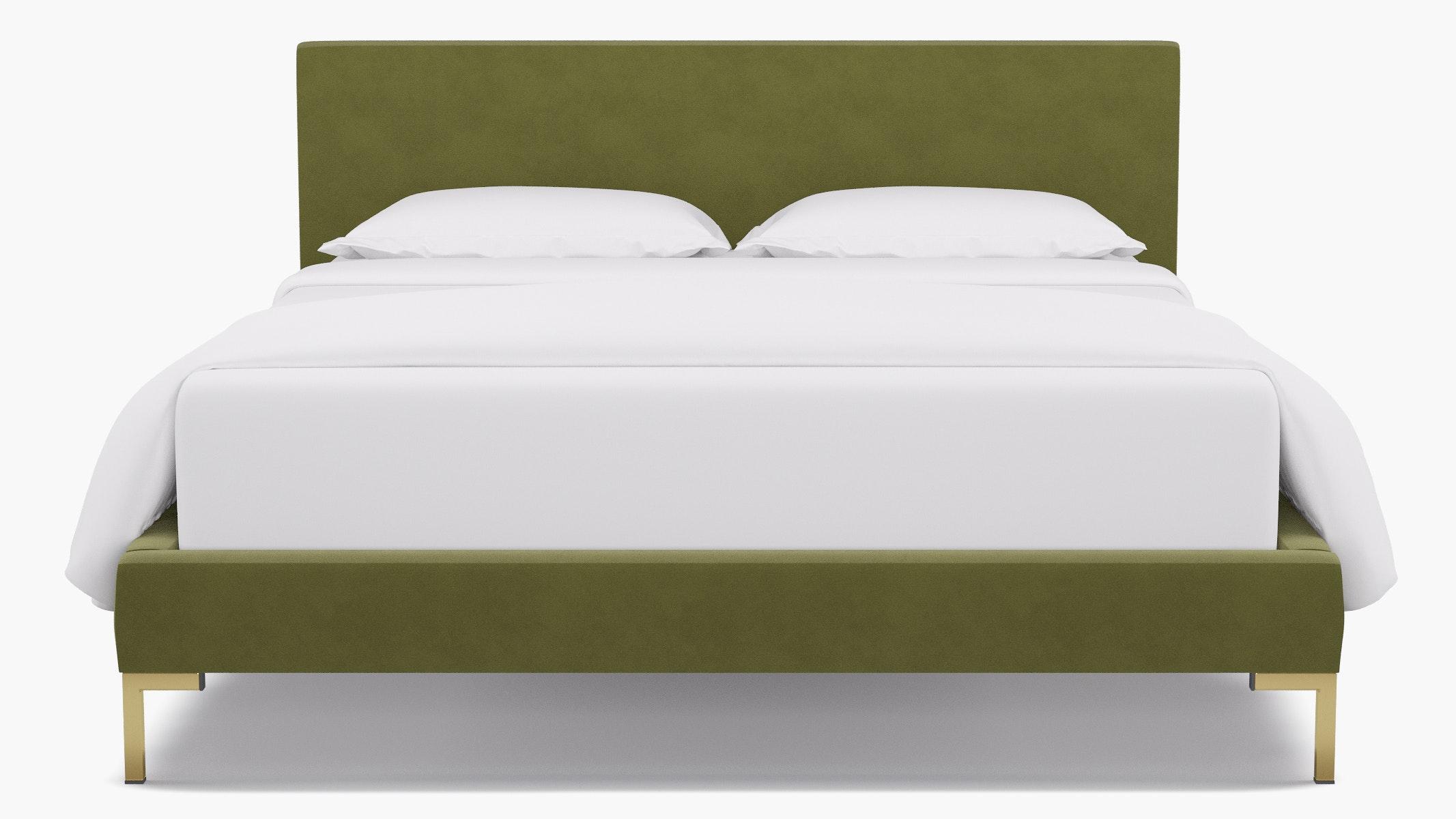 Moss Velvet Upholstered Custom Modern Platform Bed Queen The Inside Furniture
